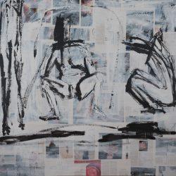 Der Aufstand beginnt als Spaziergang. Acryl auf Papier. 160 x 180 cm. 2020