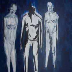 Der Aufstand beginnt als Spaziergang. Acryl auf Leinwand. 180 x 260 cm. 2020